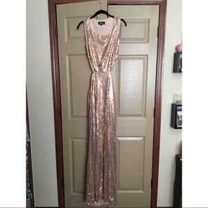 Gold Sequin Gown with Cut Outs